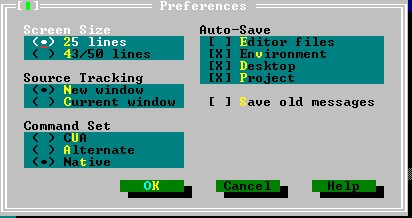 Turbo C++ - Environment Settings