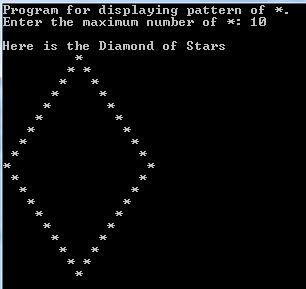 Turbo C / C++ - Build Outline Diamond Pattern of *