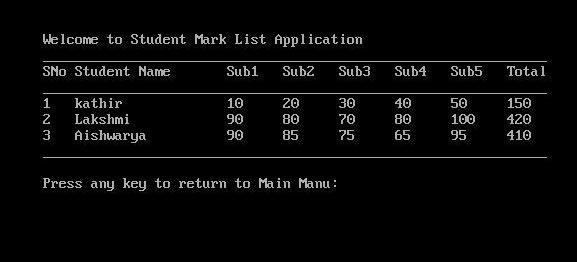 C# Menu Driven Student Mark List Preparation