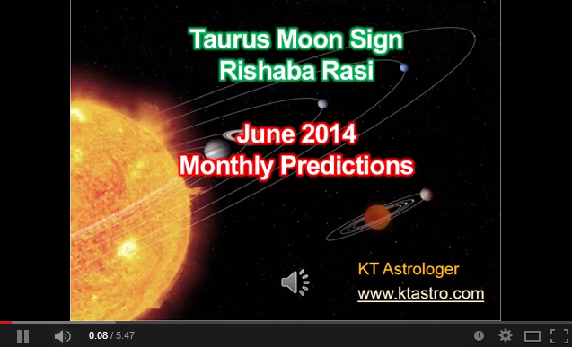 June 2014 Monthly Predictions (Rasi Palan) for Rishabha Rasi (Taurus